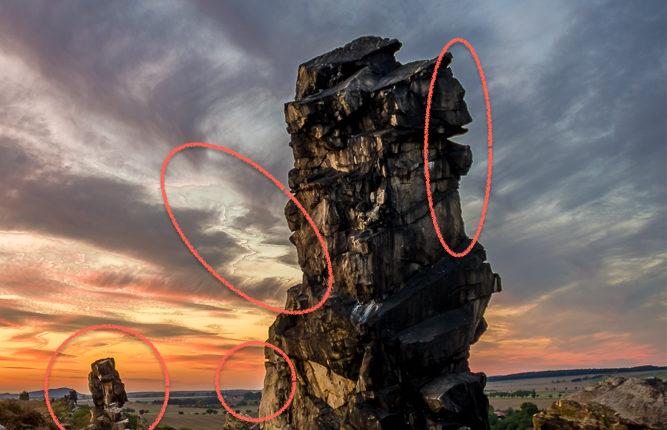 Problemzonen: Farbaberrationen, Artefakte, Lichtscheine.