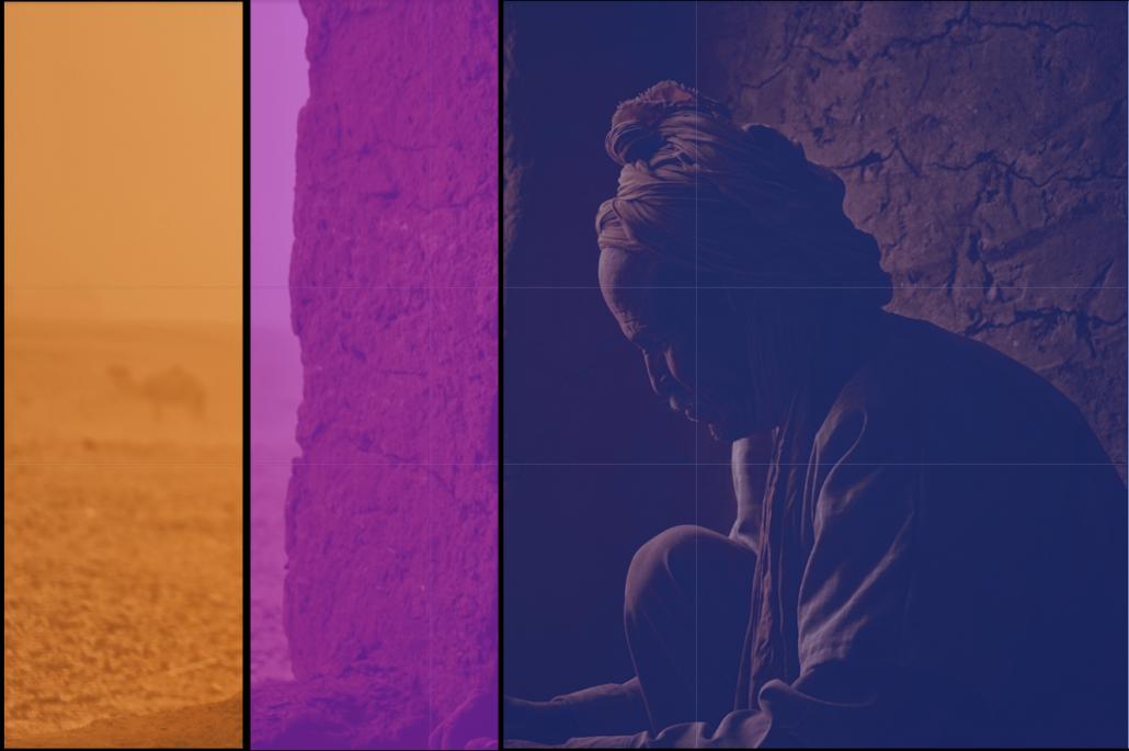 Raumeinteilung: Geschützter Vordergrund mit Motiv, rechte Bildhälfte, Übergang, mittleres Bildviertel, ungeschützter Hintergrund als Gegensatz, linkes Bildviertel.