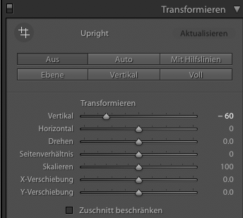 Lightroom: Transformieren-Menu