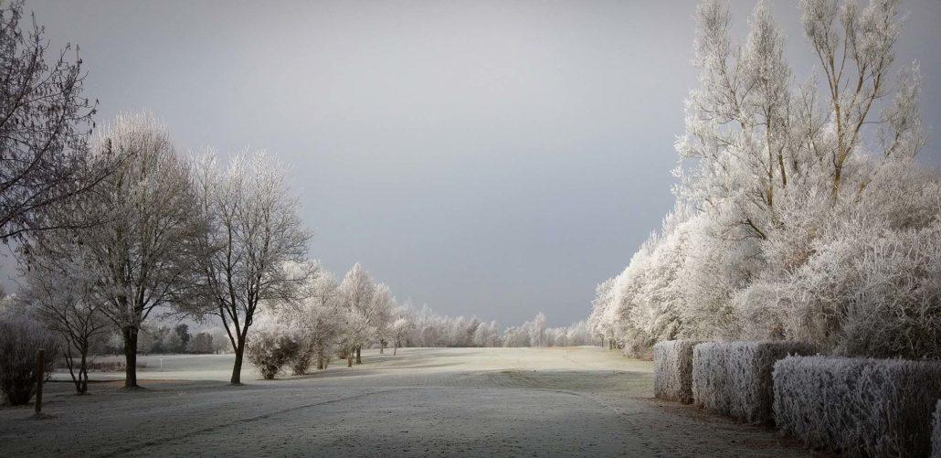 Golfplatz-Foto, leicht beschnitten und mit Vignette angereichert