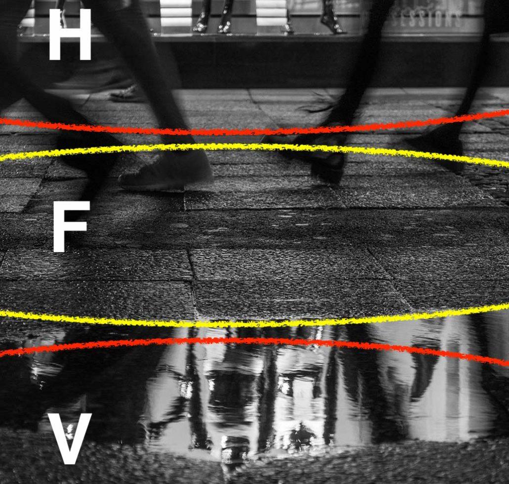 Schärfenbereiche: der Fokus liegt im Bereich F, der Vordergrund (V) und der Hintergrund (H) sind unscharf. Eine Alternative wäre es gewesen, den Fokus auf die Spiegelung im Vordergrund (und damit wahrschcinlich auf die Distanz zum Hintergrund) zu setzen.