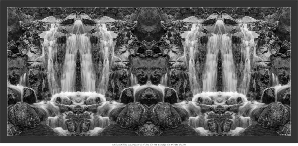 Wasserfluss gespiegelt