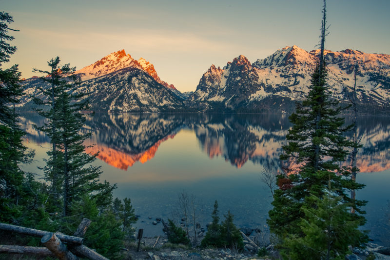 Sonnenaufgang im Grand Teton Nationalpark, Wyoming.