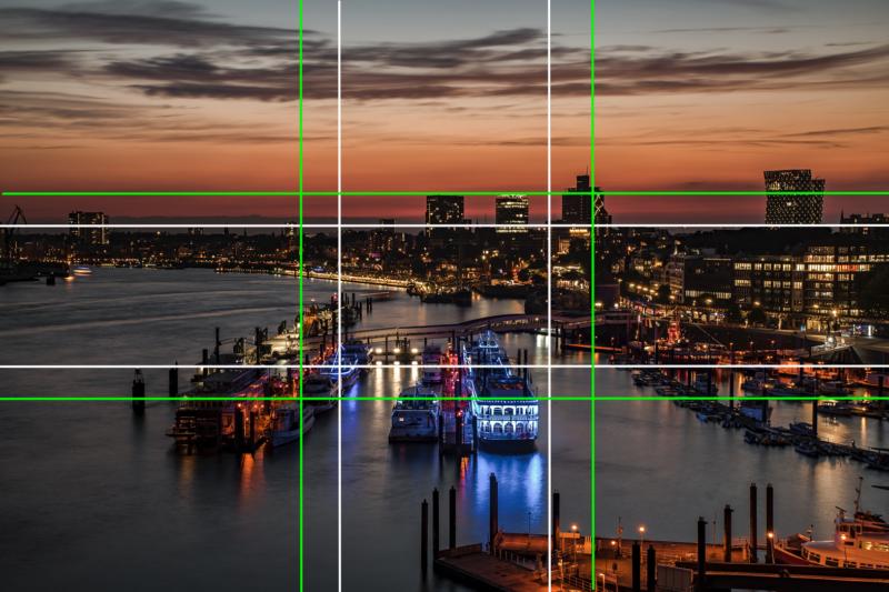 Hamburger Hafen Nachfotografie die Aufteilung