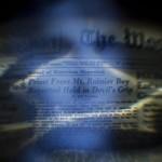 Der Exorzist: Doppelbelichtung mit dem angeblichen besessenen Jungen und einem historischen Artikel, Washington DC, EPA/JIM LO SCALZO