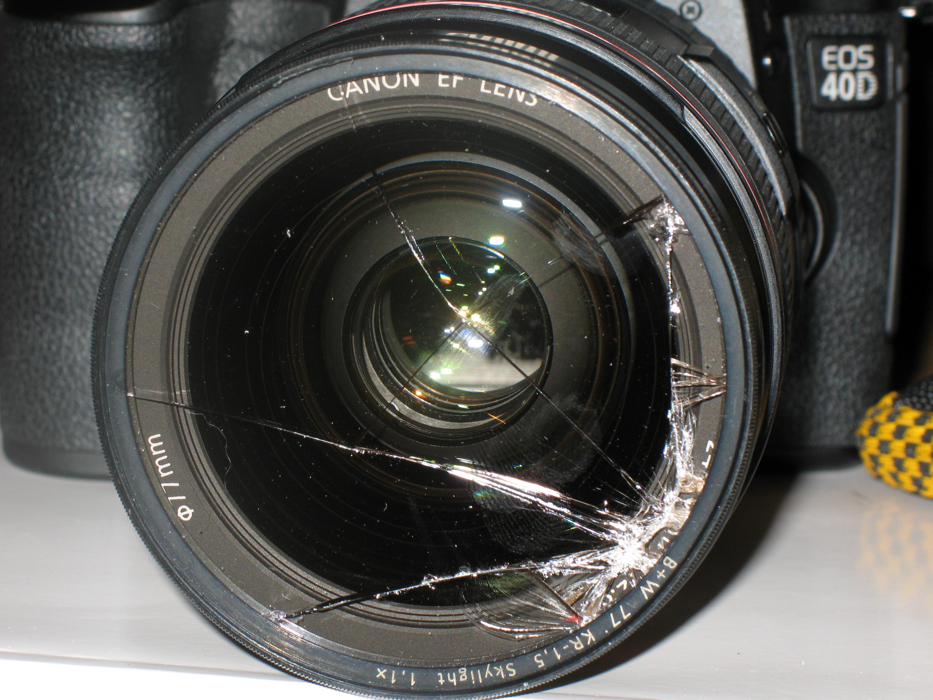 Geborstener Kamerafilter