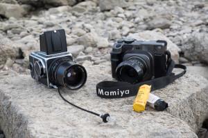 Mittelformat kameras Hasselblad 500c Mamiya 7