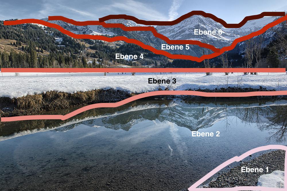 Die Landschaftsaufnahme kann in sechs eindeutige Tiefenebenen aufgeteilt werden.