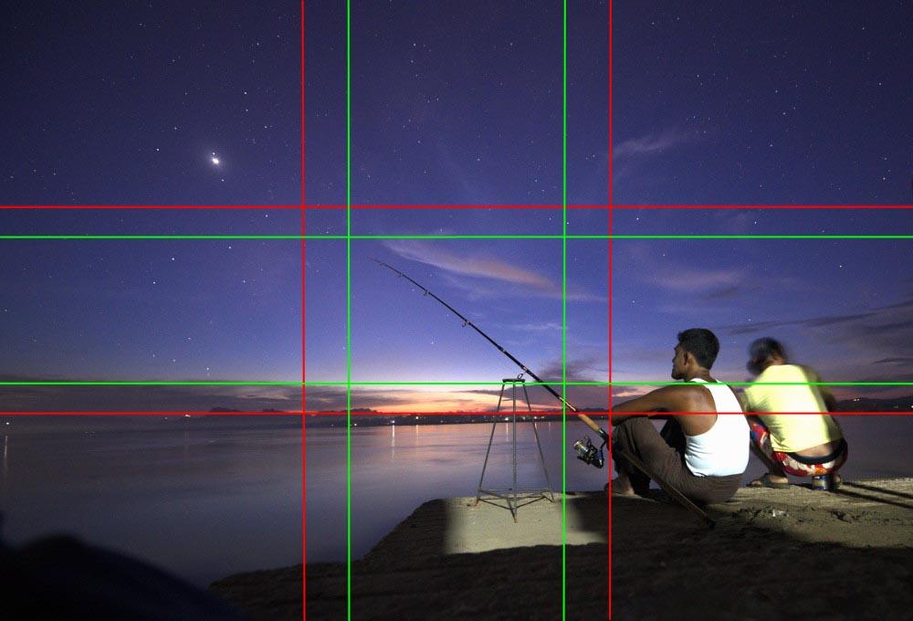 Nachtfotografie der Fischer in Myanmar: Goldener Schnitt und Drittelregel nicht erfüllt.