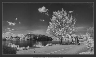 Sony A7R IR (720nm) with pinhole,  hand held, stitched panorama,