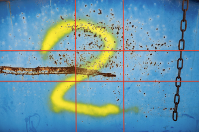 Abstrakte 2 auf blauem Grund, goldener Schnitt